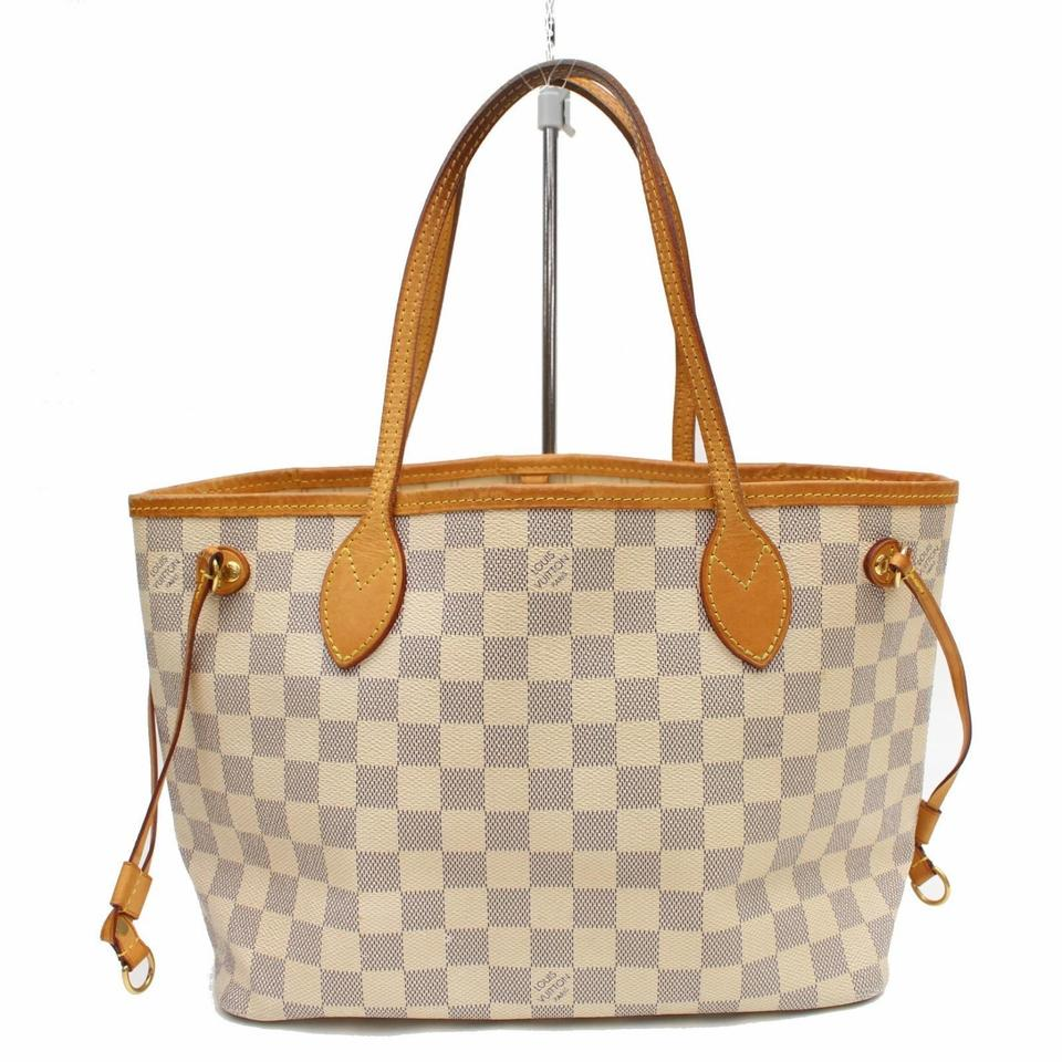 207f15daff Louis Vuitton Neverfull Damier Azur Pm 869106 White Coated Canvas Tote
