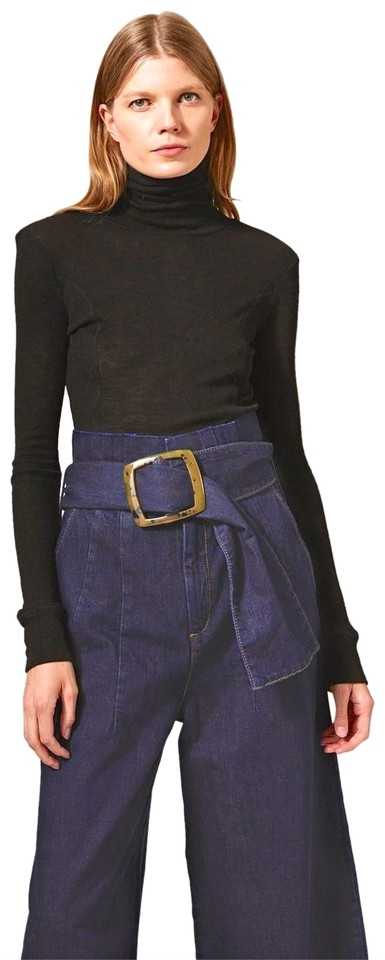 36644677dc5 Topshop Navy Boutique Belted Paperbag Flared Jeans Missing Belt Pants
