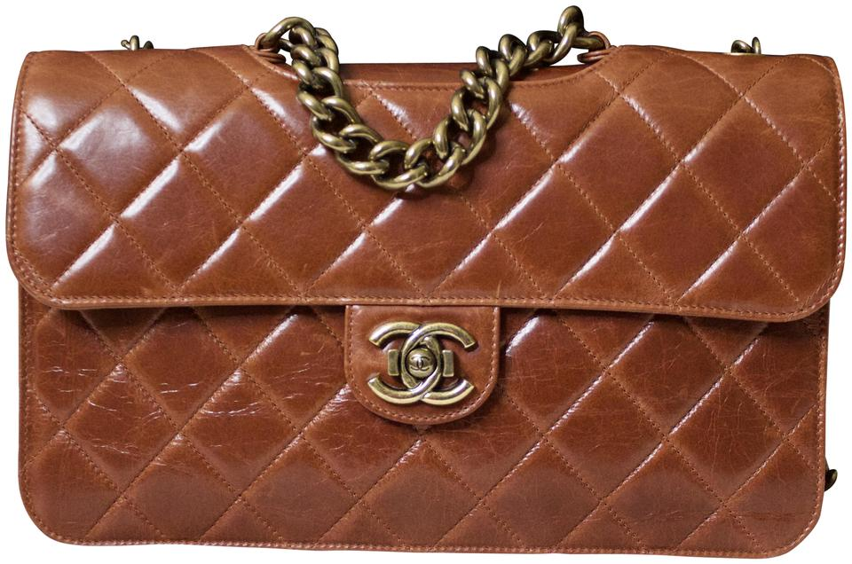 85acc76d38ad Chanel Classic Flap Quilted Perfect Edge Light Brown Glazed Calfskin ...