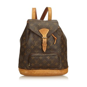Louis Vuitton Montsouris Monogram Mm Brown Coated Canvas Backpack ... bf563146939fb