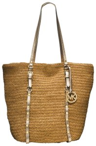 Michael Kors Natural Straw 30s4gswt3w Tote in Cream Combo