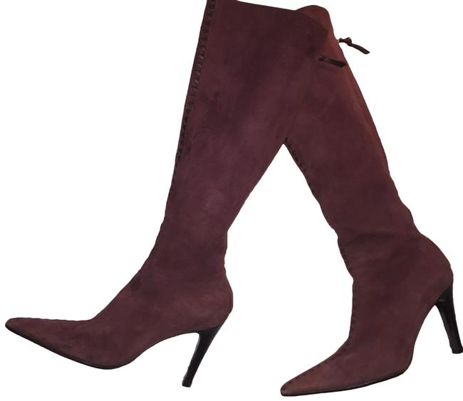 Item - Plum Sueded Leather Knee High Boots/Booties Size EU 38.5 (Approx. US 8.5) Regular (M, B)