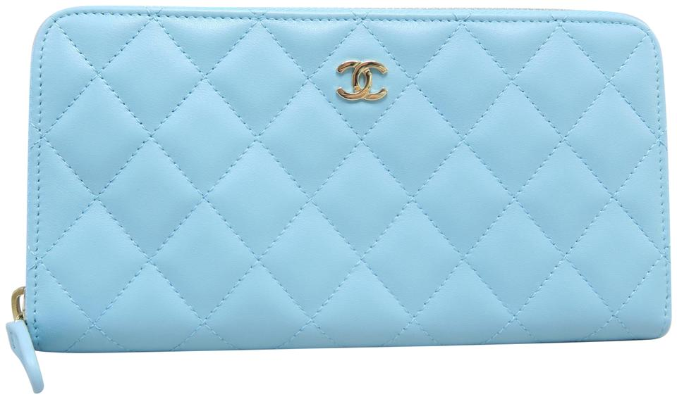 6bf96bbe98a2 Chanel Light Blue Quilted Lambskin Zip Wallet - Tradesy