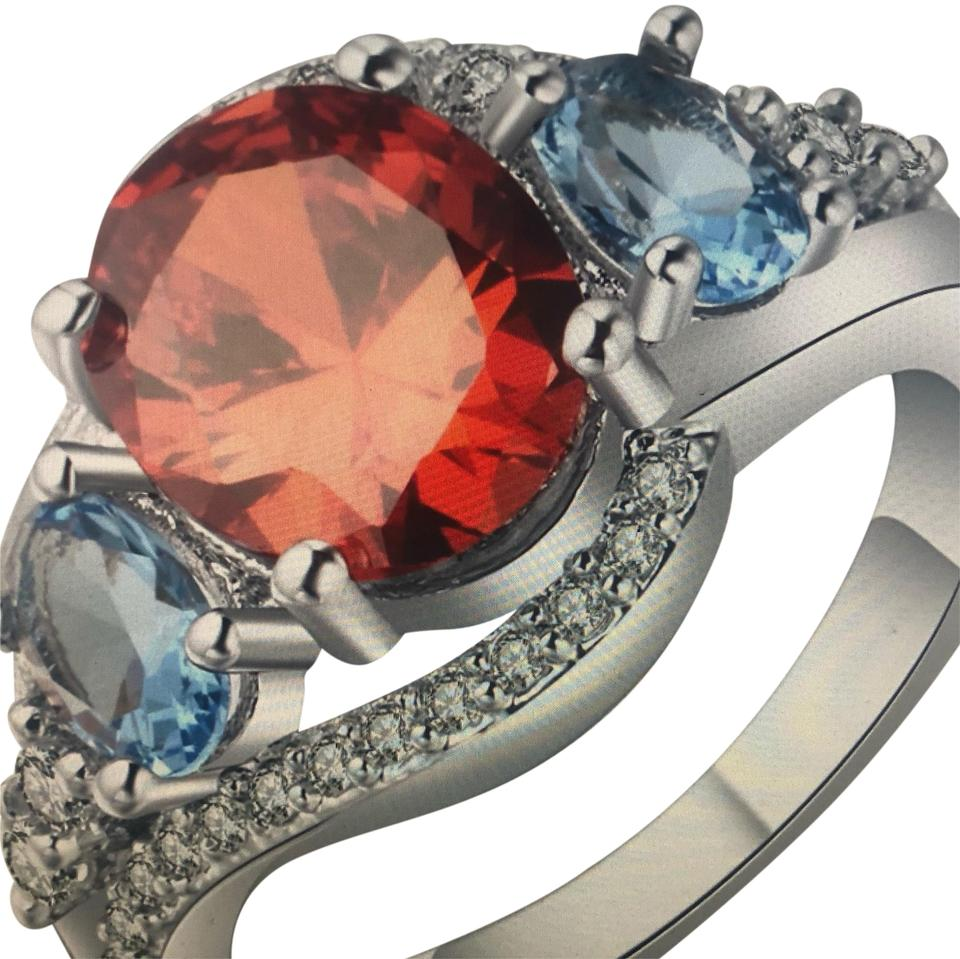 4a5d709429 Silver Blue White Red Sapphire Ruby Diamond Engagement Vintage Wedding  Cocktail Fashion Ring 51% off retail