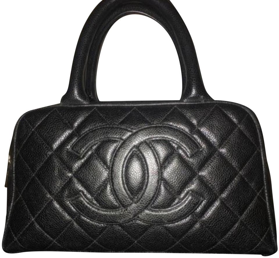 23af95fe437627 Chanel Quilted Cc Mini Small Boston Black Caviar Leather Satchel ...
