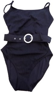 Solid & Striped Solid & Striped The Nina Black Ribbed One Piece Bathing Suit NEW L