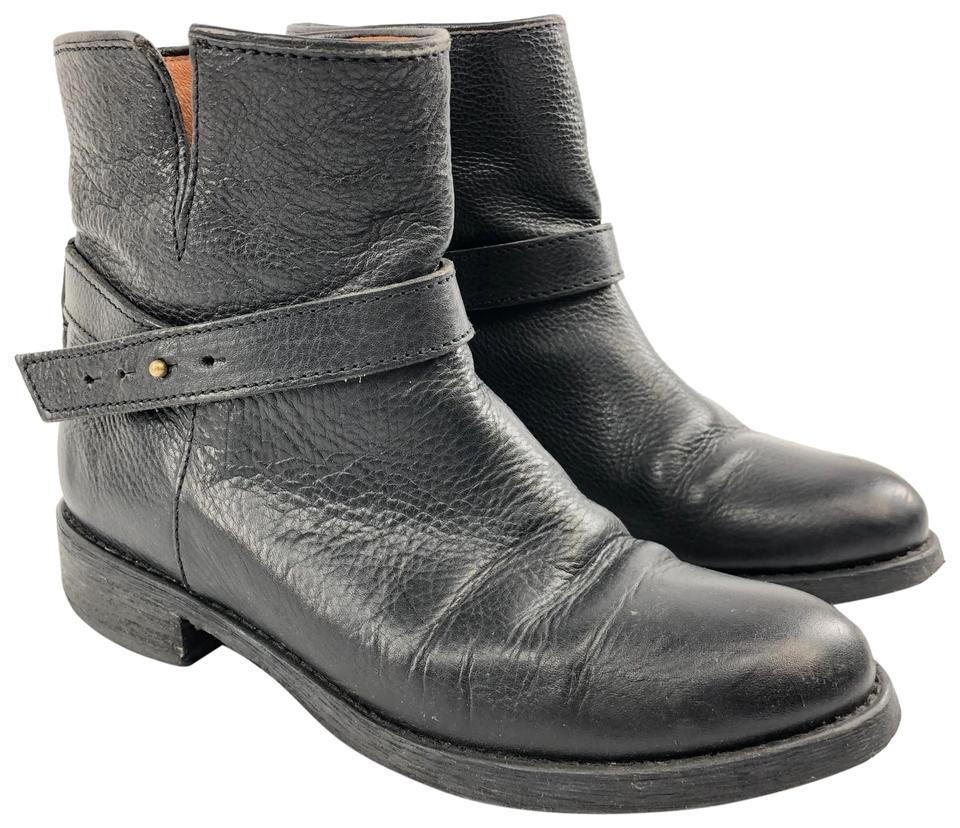 2e70cba21 Madewell Black Leather Biker Moto Wrap Buckle Pull On Chunky Heel Boots /Booties