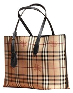 Burberry Leather Tote In Black Check Haymarket