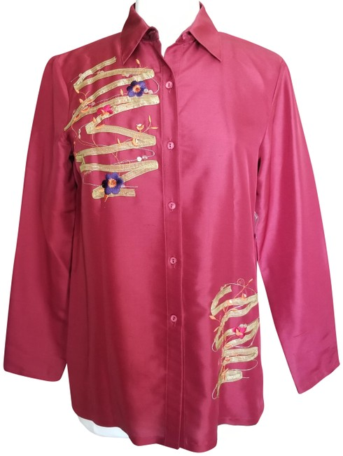 Item - Maroon Floral Embroidered Silk Shirt Button-down Top Size 6 (S)