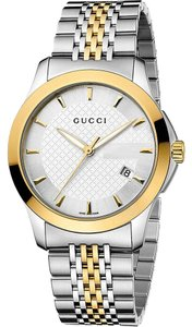 Gucci Silver Gold Stainless Bracelet G-Timeless YA126409 Mens Swiss