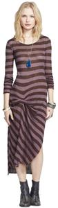 ESPRESSO COMBO Maxi Dress by Free People Side Slit Stripe Midi Striped Gathered