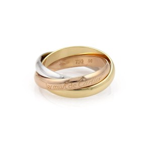 Cartier Trinity 18k Tricolor Gold 3mm Rolling Band Ring Size 56 US 7.5 Paper