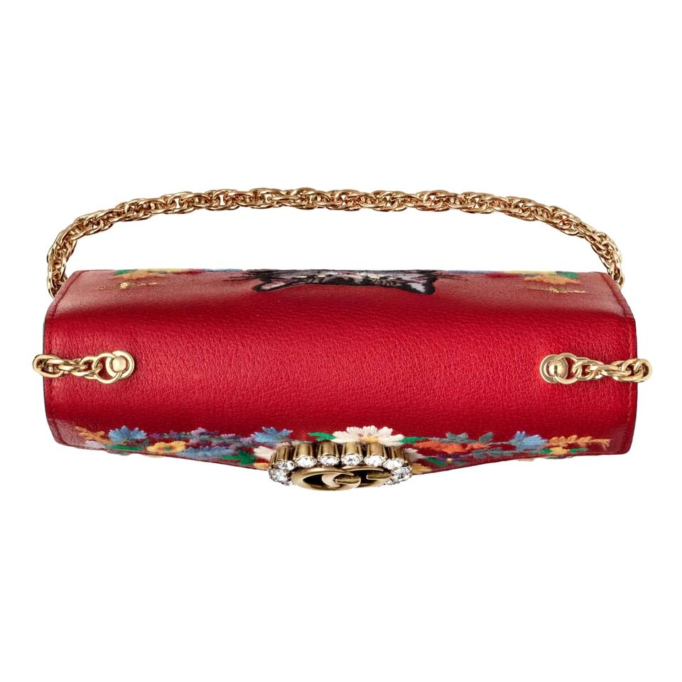 86e1b83d8348 Gucci Linea Small Ricami Floral Embroidered Shoulder Hibiscus Red ...