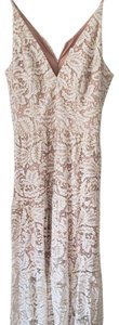 White, gold, nude Maxi Dress by Dress the Population Maxi Lace