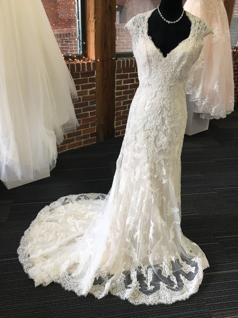 Maggie Sottero Ivory Over Light Gold Lace Bronwyn Feminine Wedding Dress Size 8 (M) Maggie Sottero Ivory Over Light Gold Lace Bronwyn Feminine Wedding Dress Size 8 (M) Image 1