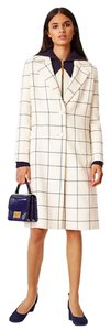 Tory Burch Holiday Check Windowpane Winter Pea Coat