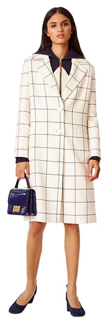 Item - Ivory Cream White New Windowpane Plaid Wool Jacket Coat Size 10 (M)