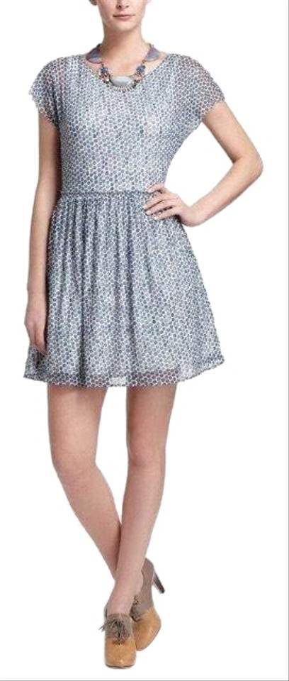 8c07e6c93bda5 Anthropologie Blue Frothed Dots By Weston Wear Short Casual Dress ...