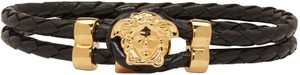 Versace BRAND NEW MEN'S VERSACE GOLD MEDUSA BLACK BRAIDED LEATHER BRACELET