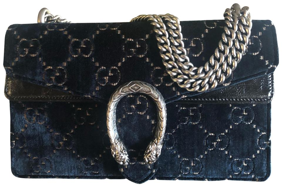 bc2487322fc5 Gucci Dionysus Gg Small Navy and Black Velvet Shoulder Bag - Tradesy