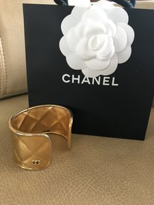 Chanel Quilted Gold Cuff/CC LOGO