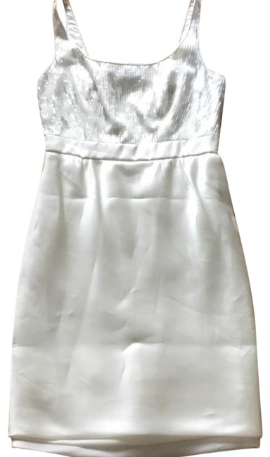 Carmen Marc Valvo Cream Beaded Scoopneck Short Formal Dress Size 4 (S) Carmen Marc Valvo Cream Beaded Scoopneck Short Formal Dress Size 4 (S) Image 1