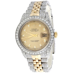 Rolex Mens 36mm Rolex DateJust 16013 Diamond Watch Iced Out Jubilee Band 8CT