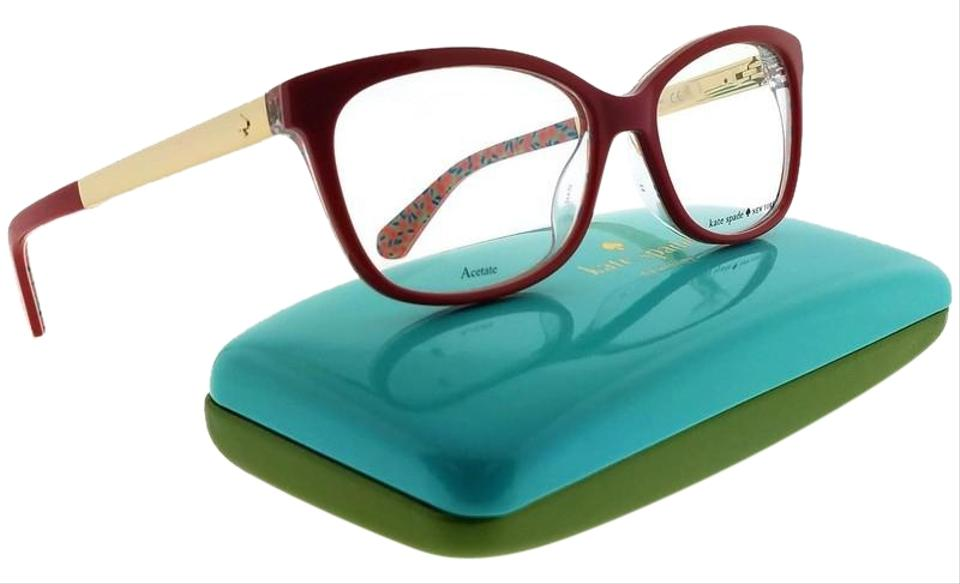09813ad1b50 Kate Spade JODIANN-0XSU-52 Rectangle Women s Red Frame Clear Lens  Eyeglasses NWT Image ...