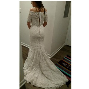 Allure Bridals Ivory/Cafe Lace 2700 By Feminine Wedding Dress Size 12 (L)