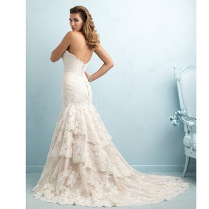 Allure Bridals Champagne/Ivory Lace 9215 By Feminine Wedding Dress Size 14 (L)