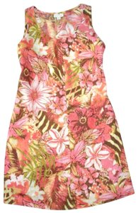 J. Jill short dress Coral Peach Love Linen Tropical Floral Shift Sleeveless on Tradesy