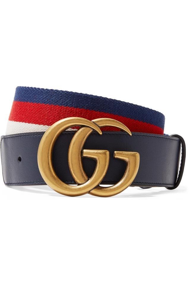 fa2a6c73c217a Gucci Navy Blue Size 70 Striped Canvas and Leather Belt - Tradesy