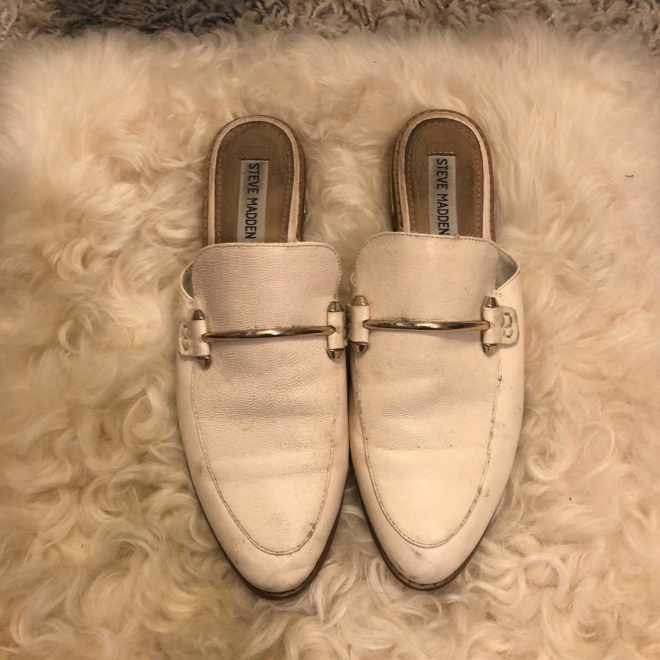5ac0d36f9ce Steve Madden White Laaura Leather Mules Flats Size US 7.5 Regular (M, B)  62% off retail