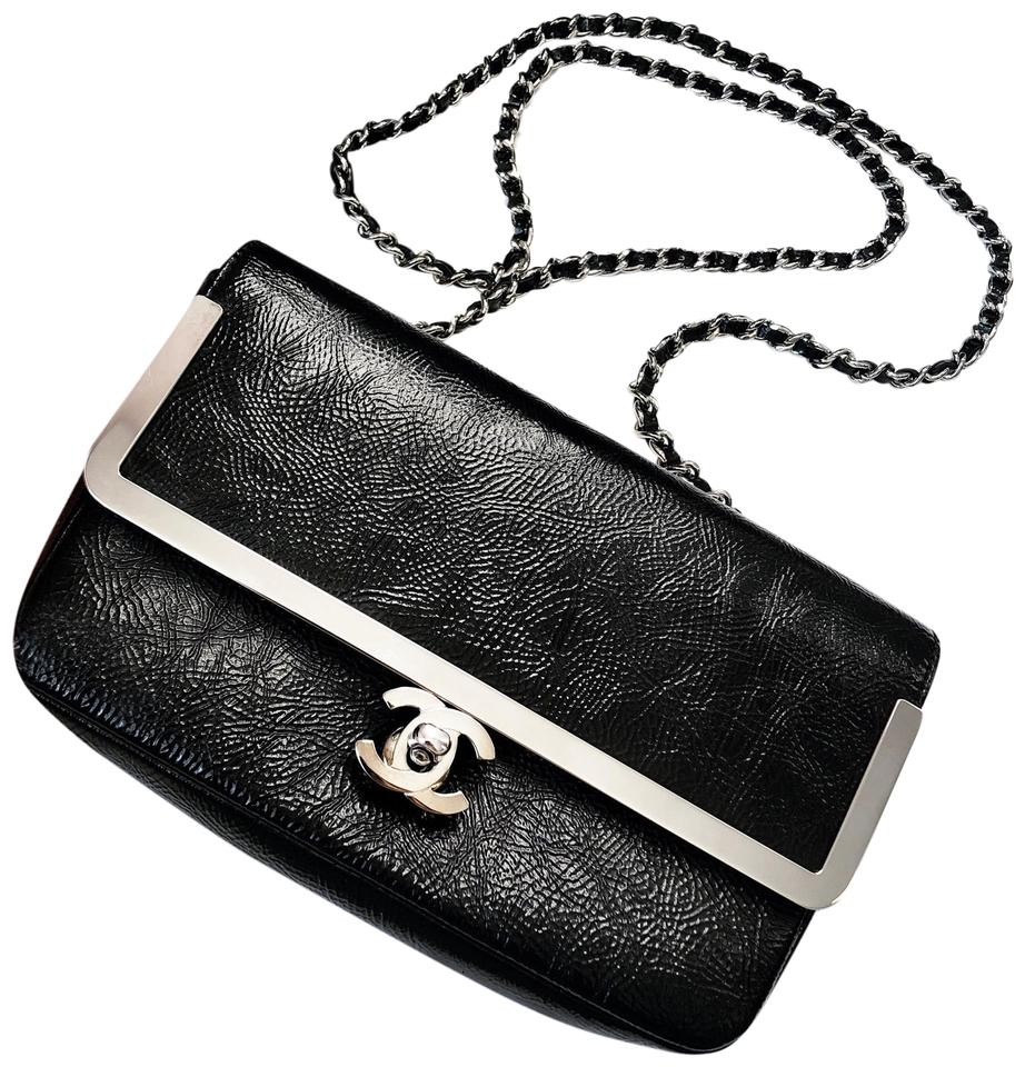 cfb6f1775284 Chanel Classic Flap Small Crinkled Patent Silver Hardware Black Calfskin  Leather Cross Body Bag