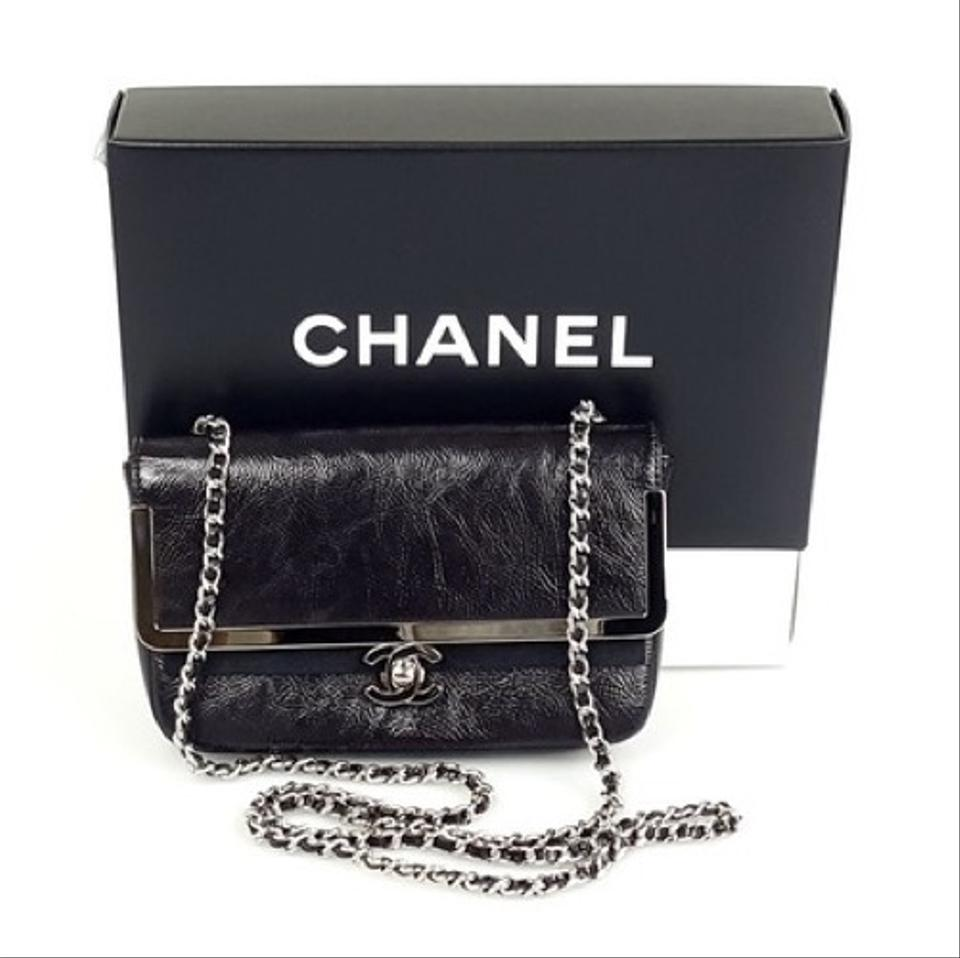 31e7cabd5f20 Chanel Classic Flap Small Crinkled Patent Silver Hardware Black Calfskin  Leather Cross Body Bag - Tradesy