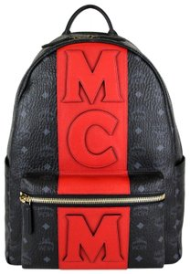 MCM Unisex Black/Red Stripe Coated Canvas Backpack