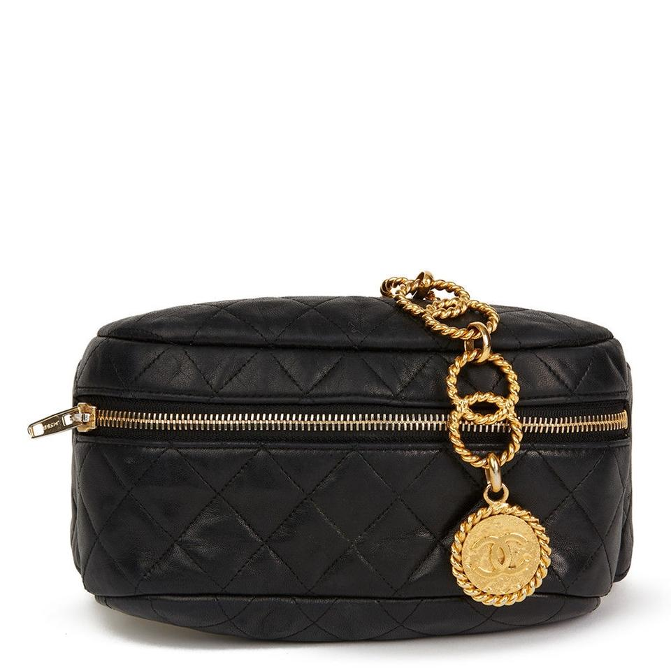 819dcd9667e3 Chanel Fanny Pack Vintage Rare Gold Chain Collector's Piece Black ...