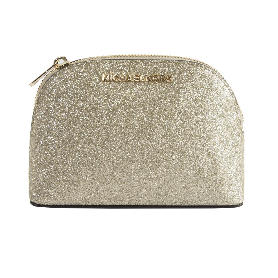 7f2fbe2b6ddb Michael Kors Gold Glitter Leather Jet Set Dome Pouch Cosmetic Bag ...