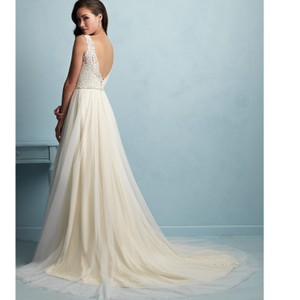 Allure Bridals Gold/Ivory Soft Tulle 9205 By Feminine Wedding Dress Size 12 (L)