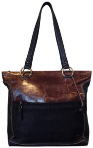 The Sak Leather Tote in Brown and Black