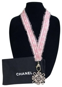 Chanel Chanel Pink Grosgrain Ribbon Crystal CC Lanyard Necklace Key Holder
