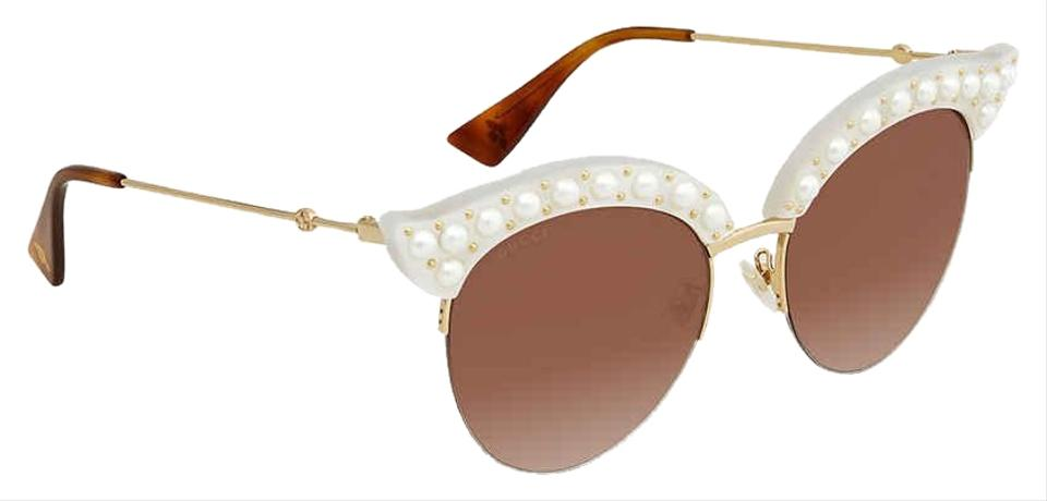 2cd8cd4d2aa Gucci 003 Pearl and Gold New Gg0212s White Cat Eye Semi-rimless Sunglasses