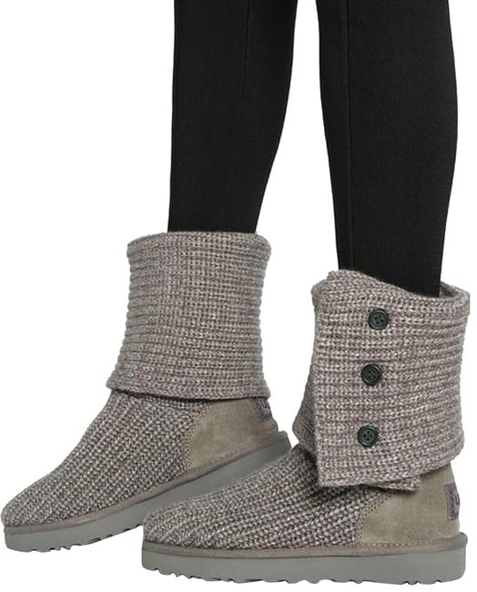 Item - Grey Classic Cardy Knit/Suede Wool Women Sweater Boots/Booties Size US 6 Regular (M, B)