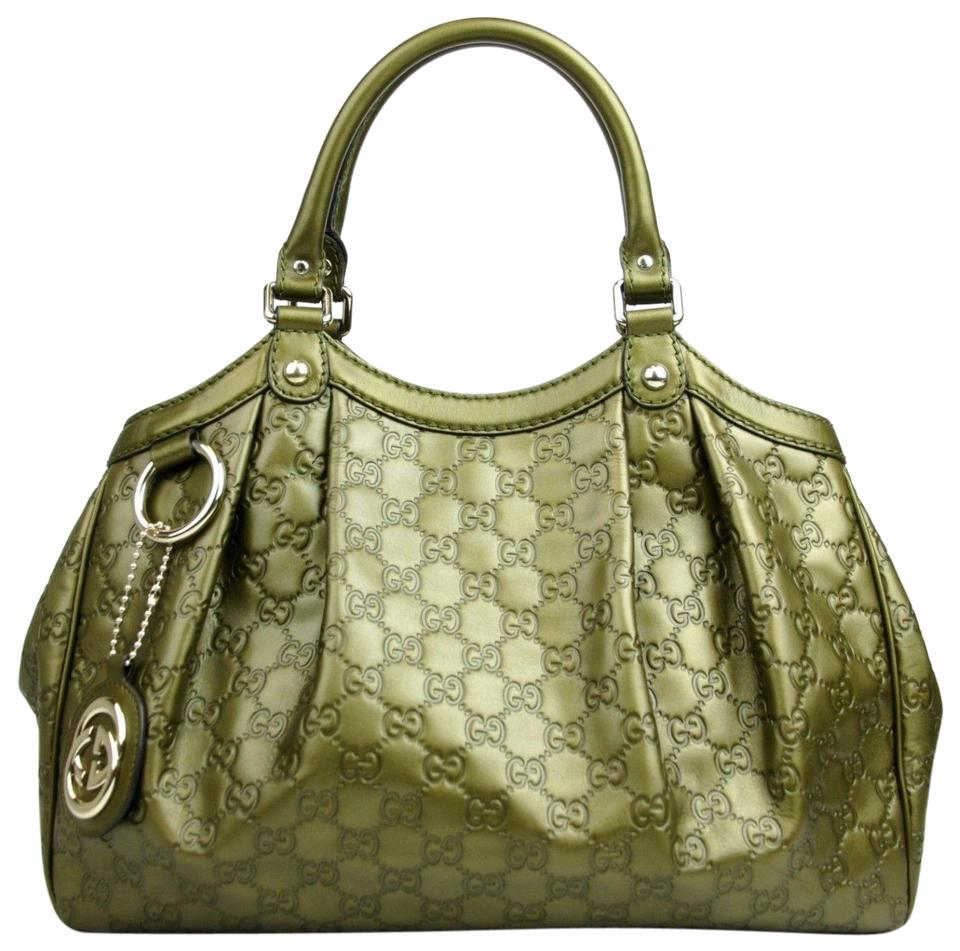 7f4e448649c1 Gucci Sukey Metallic Guccissima Medium 211944 Olive Leather Hobo Bag ...
