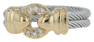 Charriol Charriol Ring - Diamond Accents 18k Yellow Gold Steel Rope Band Size 6