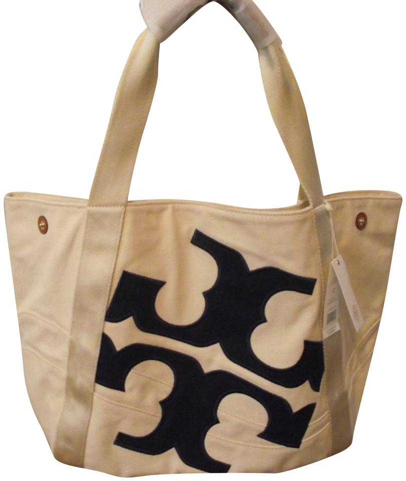 a012e445595c Tory Burch New Logo Large Beach Carryall Travel Natural Navy Natural ...