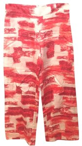 W by Worth Flare Pants red tones and off white print