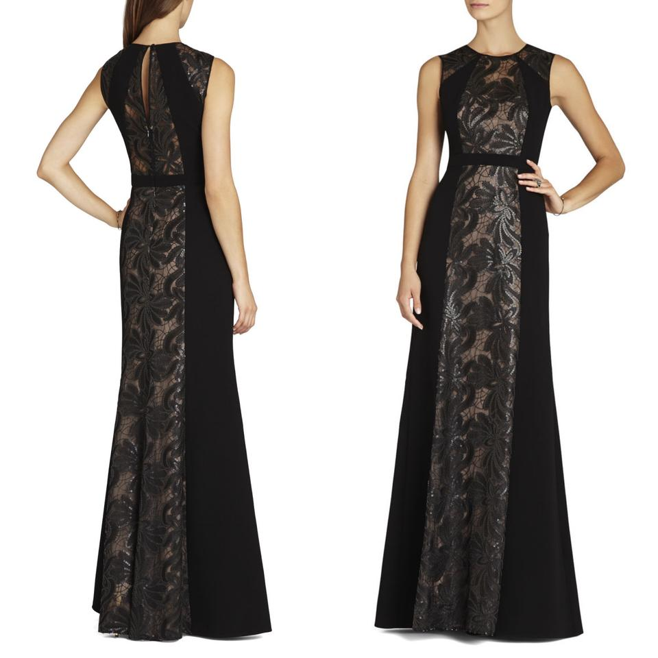9a0dbd68f12 BCBGMAXAZRIA Black Linden Leaf Embroidered Gown Long Cocktail Dress ...