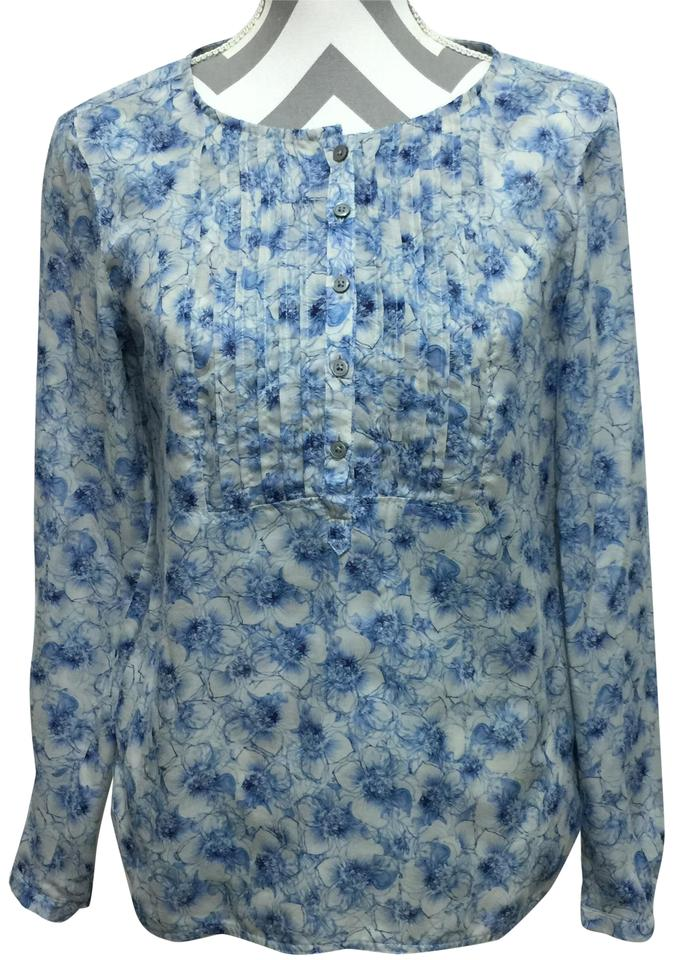 2ceae9158 Ann Taylor LOFT Blue & White Front Pleated Blouse Size 6 (S) - Tradesy