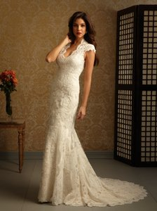 Allure Bridals Ivory/Cafe Lace and Charmeuse 2455 By Feminine Wedding Dress Size 14 (L)